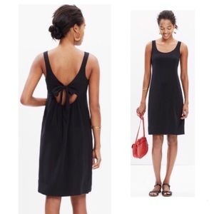 MADEWELL Black Silk Lookout Bow Back Dress